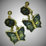 Vintage Japanese Shakudo Amita Damascene Butterfly Screw Back Earrings