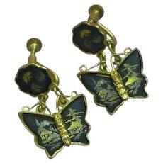 Vintage Japanese Shakudo Amita Damascene Butterfly Screw Back Earrings