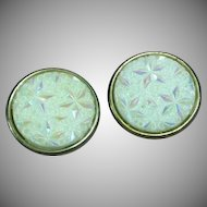 Art Glass Large Iridescent Milk Glass Clip Earrings