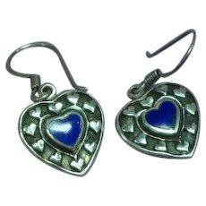 Vintage Sterling Silver Lapis Gemstone Heart Drop Dangle Pierced Earrings
