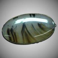 Vintage Dendrite Moss Agate Semi Precious Stone Oval Pin Brooch