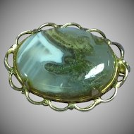 Vintage Fabulous Polished Picture Agate Prong Set Pin Brooch