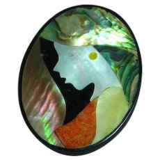 Large Inlay Iridescent Mother of Pearl Abalone in Black Plastic Lady in Hat Figural Pin Brooch