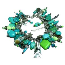 Rare Vintage All Sterling Silver Native American Indian Charms Turquoise Gaspeite Loaded Spectacular Bracelet