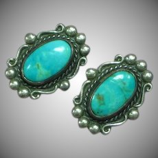 Native American Indian Sterling Silver Sleeping Beauty Turquoise Clip Earrings