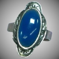 Sterling Silver  Blue Chrysophase Ring