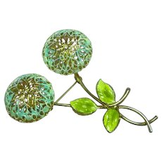 Blue Enamel Puffy Flower Pin Brooch