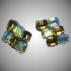 Sensational Emerald Cut Topaz and A/B Crystal Rhinestone Pierced Earrings