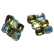 Sensational Emerald Cut Topaz and A/B Crystal Rhinestone Pierced Earrings