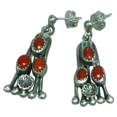 Native American Indian Sterling Silver & Coral Vintage Pierced Earrings