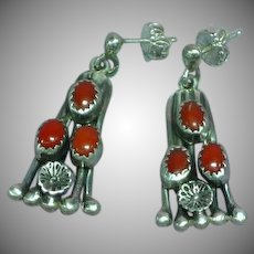 Native American Indian Sterling Silver & Coral Vintage Pierced Earrings