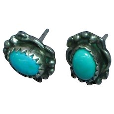 Native American Indian Sterling Silver Turquoise Pierced Post Stud Earrings