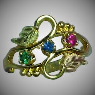 10K Yellow,Green Gold  Vintage Black Hills Gold Leaf Two Tone Swirl Three Stone Ring