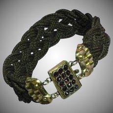 Magnificent 9K Rose Gold Garnet Mori Mourning Braided Woven Hair Bracelet