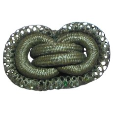 Tightly Woven Hair Mourning Mori Sentimental Love Knot with Stones Brooch Pin