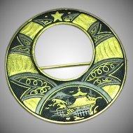 Vintage Japanese Amita Damascene Round Pin Brooch
