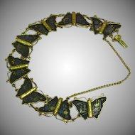 Vintage Japanese Amita Damascene Butterflies Bracelet