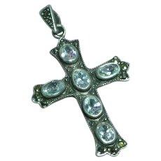 Large Unique Sterling Silver Marcasite Cross Necklace Pendant