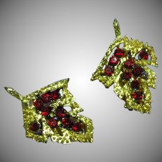 Magnificent Leaves Red Rhinestones Stunner Clip Earrings