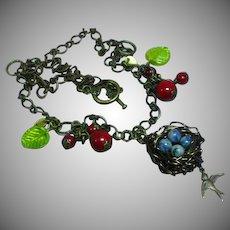 Mixed Metal Copper Brass Medallion Birds Nest Eggs Berries Pendant Necklace