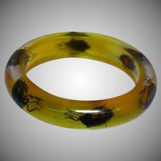 Authentic 1960's Lucite Beetle Inclusions Bug Insect Bracelet