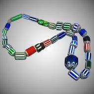 African Trade Large Venetian Chevron Bead  Boho Tribal Ethnic Necklace