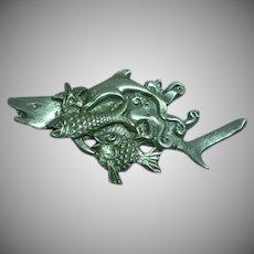 SHARK! Sea Life Pewter Big Fish Figural Pin Brooch