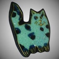 Black Plastic Inlay Composite Material Kitty Cat Kat Figural Pin Brooch