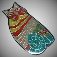 Inlay Composite Material  Large Kli Ban Cat Kitty Figural Lucite Pin Brooch