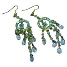 Blue Rhinestone with Blue Dangling Crystal Gold Tone Chandelier Pierced Earrings