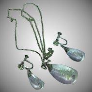 Reverse Carved Rock Crystal Vintage Japan Pagoda Sterling Silver Necklace Earrings Set
