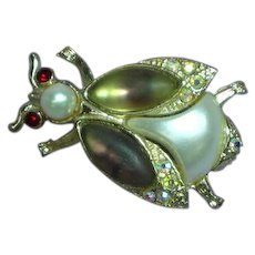 Rhinestone Faux Pearl Bug Figural Insect Brooch Pin