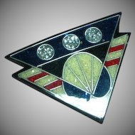 Black Plastic Inlay Composite Material Patriotic Red White Blue Pin Brooch