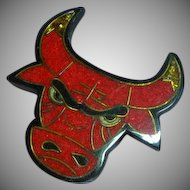 Black Plastic Inlay Composite Material Red Bull Figural Pin Brooch