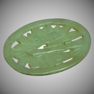 Chinese Carved and Cut Out Lotus Blossom Light Green Jade Medallion Pendant