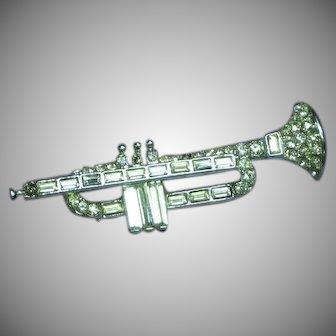Rhinestones Horn Musical Trumpet Figural Pin Brooch