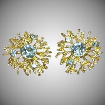 KJL for Avon Regal Riches Rhinestones Large Clip Earrings