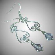 Classy Sterling Silver Rock Crystal Drop Pierced Earrings