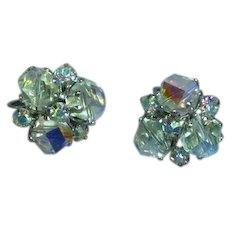 Vogue Marked A/B Crystal Rhinestones Clip Earrings