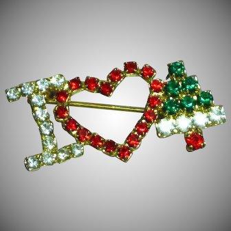 Rhinestones I Love Christmas Vintage Novelty Festive Christmas Pin Brooch