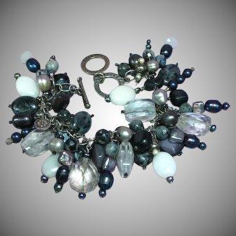 Stunning Silpada Retired Sterling Silver 925 Rock Crystal Cultured Pearl Gemstones Loaded Charm Bracelet