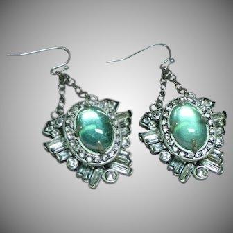 Lulu Frost for J.Crew Moon Glow Art Glass Rhinestones Pierced Earrings