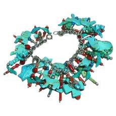 Carved Turquoise Cowboy Horses Birds Leaves Animal Fetish Coral Loaded Sterling Charm Bracelet