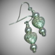 Sterling Silver Etched Puffy Heart Dangle Hook Pierced Earrings