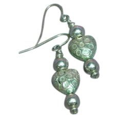 Sterling Silver Etched Puffy Heart Dangle Hook Pierced Earrings