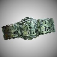 "Egyptian Revival ""800"" Silver Egyptian Filigree 7 Panel Bracelet"