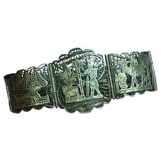 """Egyptian Revival """"800"""" Silver Egyptian Filigree 7 Panel Bracelet"""