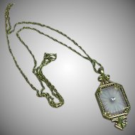 Avon Camphor Glass Lilac Paste Rhinestone Gold tone Necklace