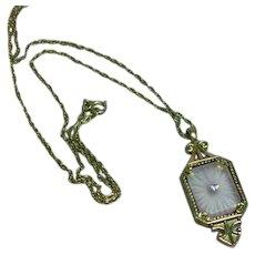 Avon Camphor Glass Lilac Paste Rhinestone Gold tone Necklace