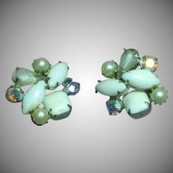 Kramer Marked Elegant Milk Glass Rhinestone Pearl Clip Earrings